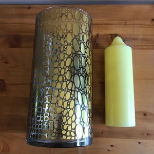Glass & Gold Toned Hurricane Candle Holder